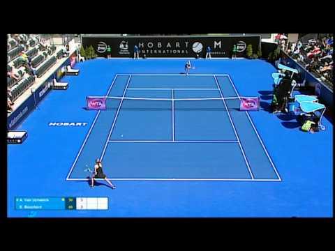 Alison Van Uytvanck v Eugenie Bouchard highlights (2R)   Hobart International 2016
