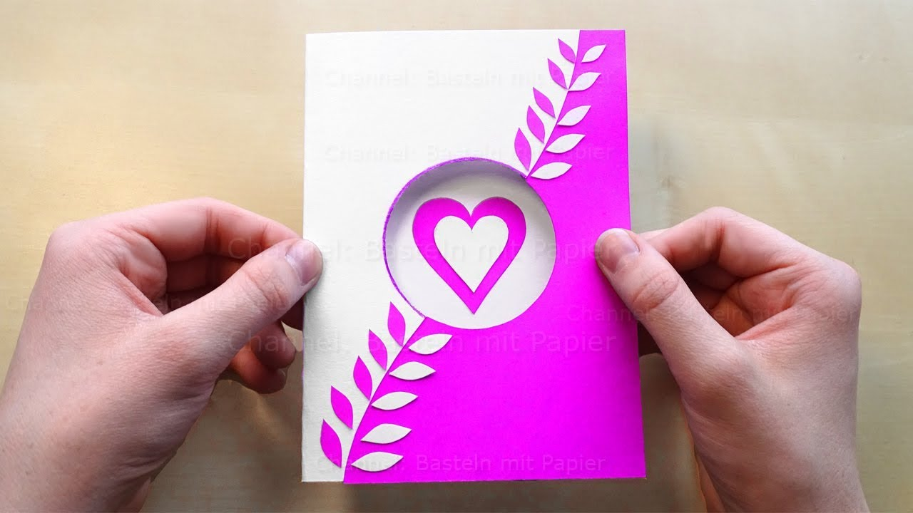 Diy Greeting Card With A Heart Diy Mothers Day Gift