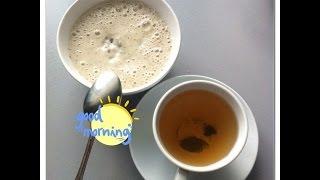Вкусный полезный завтрак: каша из проростков с бананом и зеленый чай из лотоса :)