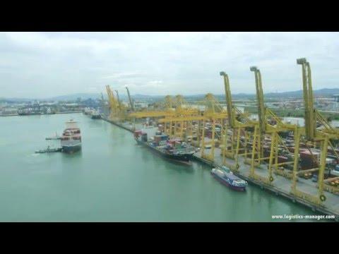 Barge Vessel Departing TIPS B4 Terminal at Laem Chabang Port