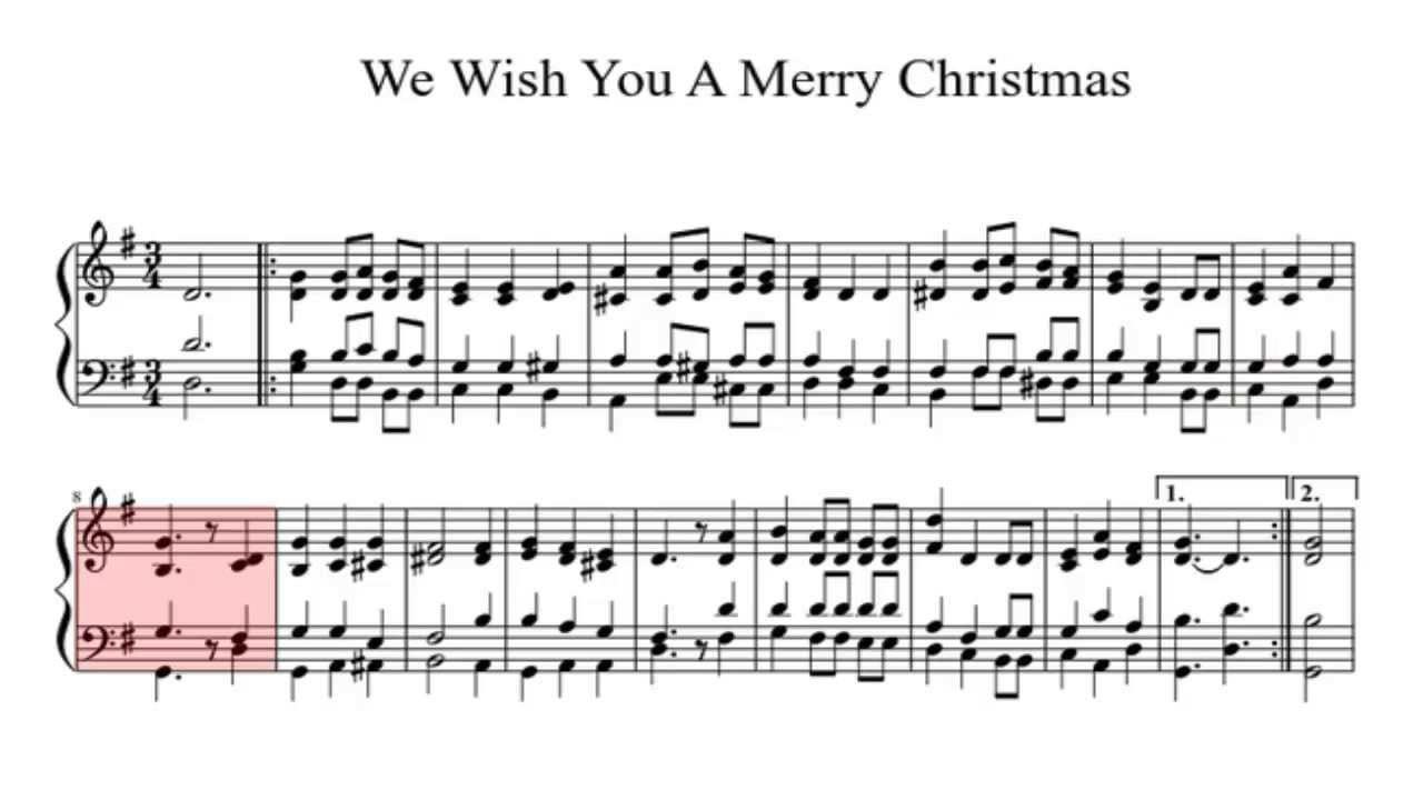 We Wish You A Merry Christmas- piano solo+ sheet music - YouTube
