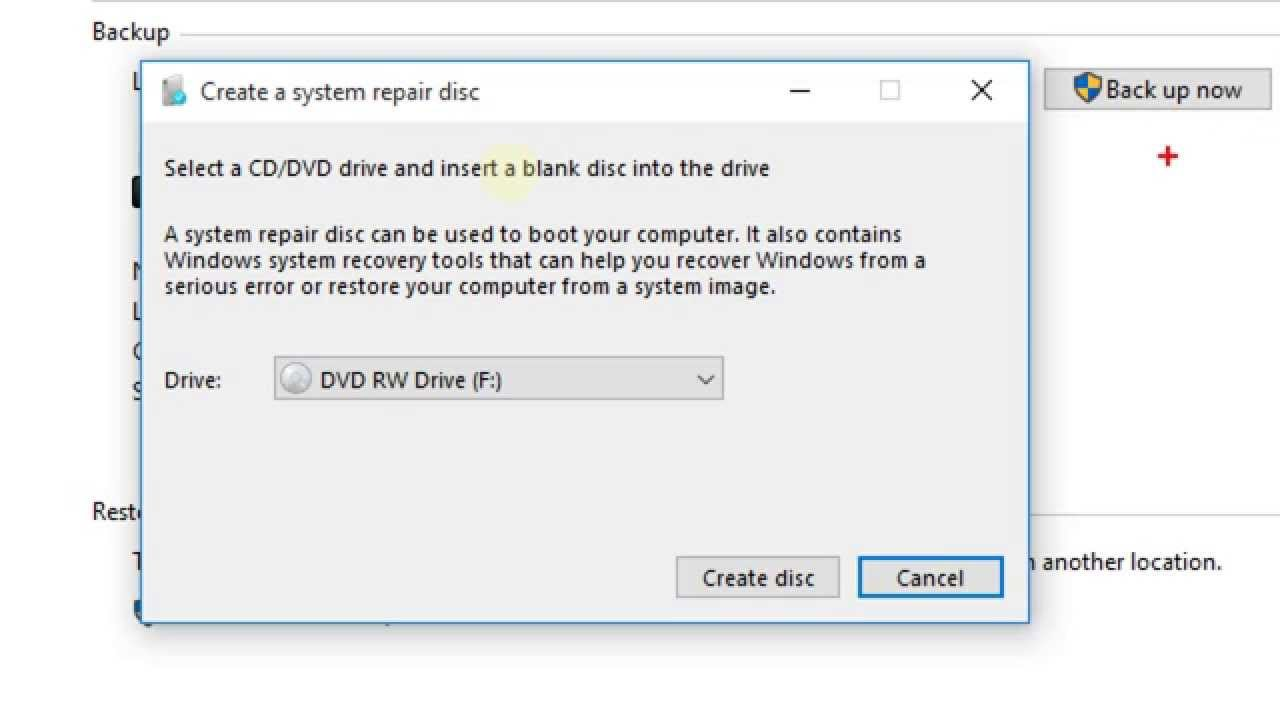 windows 10 create recovery boot disk