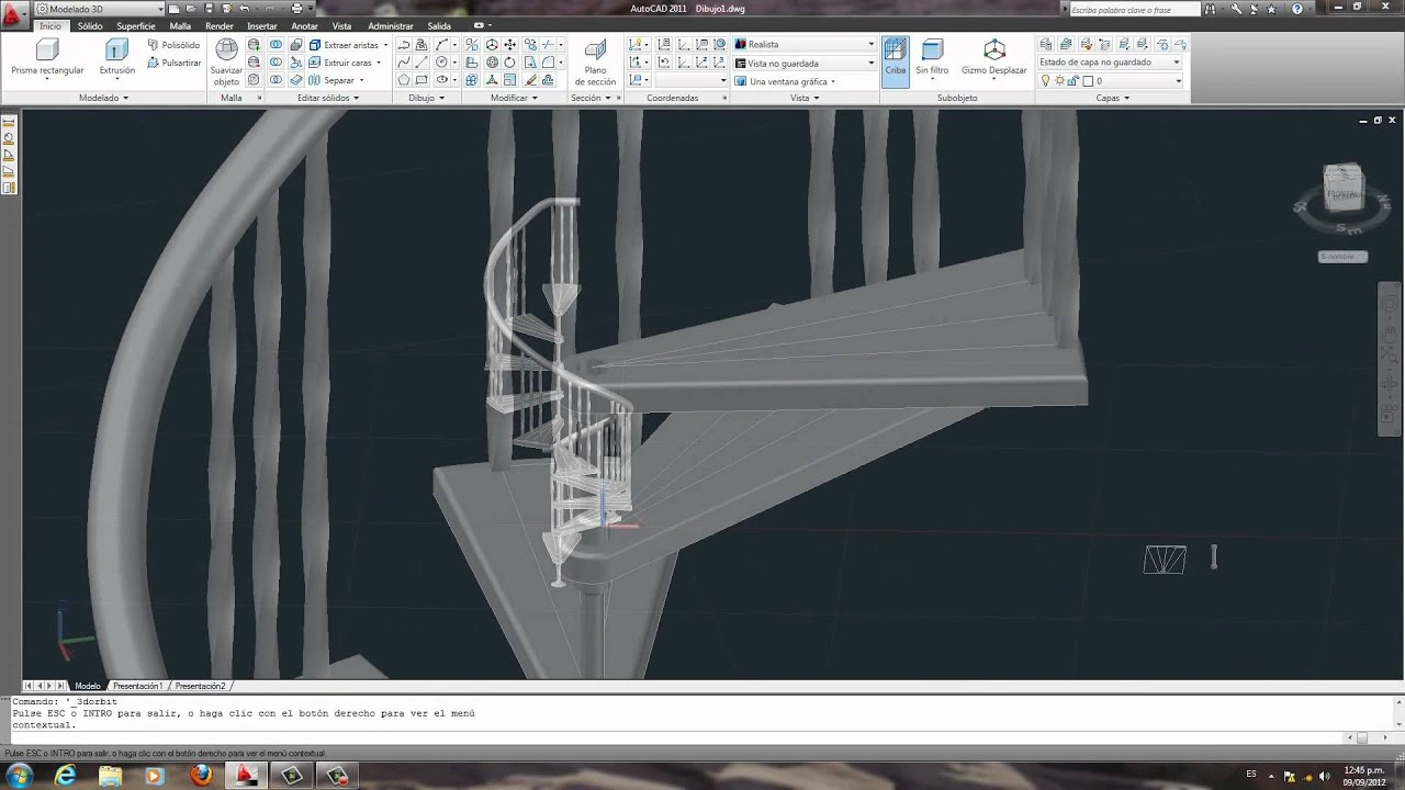 Escalera de caracol en autocad youtube for Escaleras 3d max