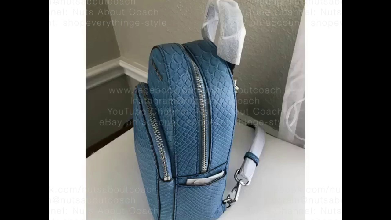 ee9f696643 Michael Kors Abbey XS Backpack in Embossed Leather-Sky Blue - YouTube