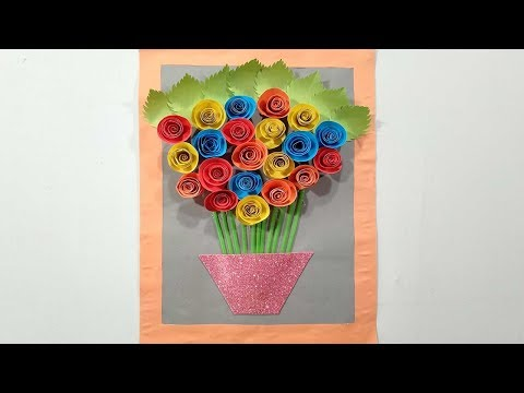 Diy Awesome Rose WallHanging Idea With Paper || Paper Art And Craft || Paper Rose|