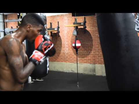 Maurice Hooker of Dallas, Texas working the heavy  bag in Dallas, Texas.