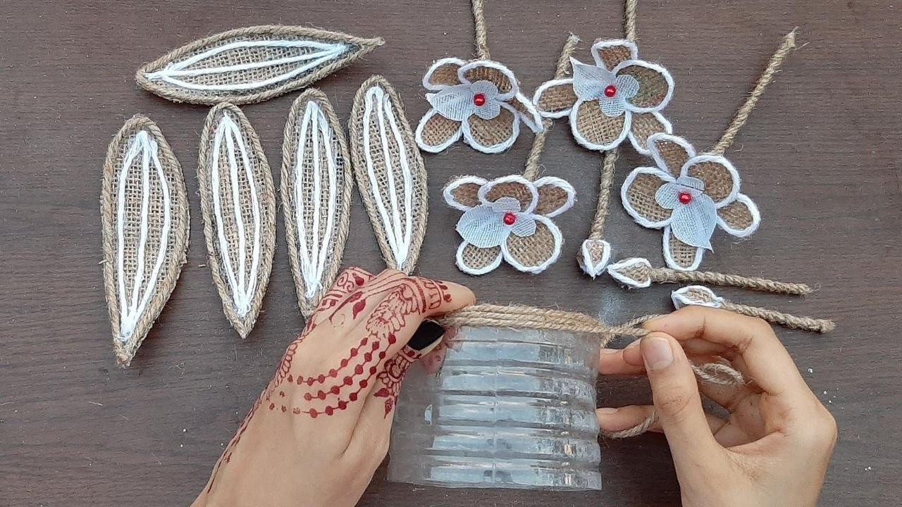 DIY Flower With Flower Vase Decoration Idea with Burlap | Home Decorating Handmade Jute Flower Pot