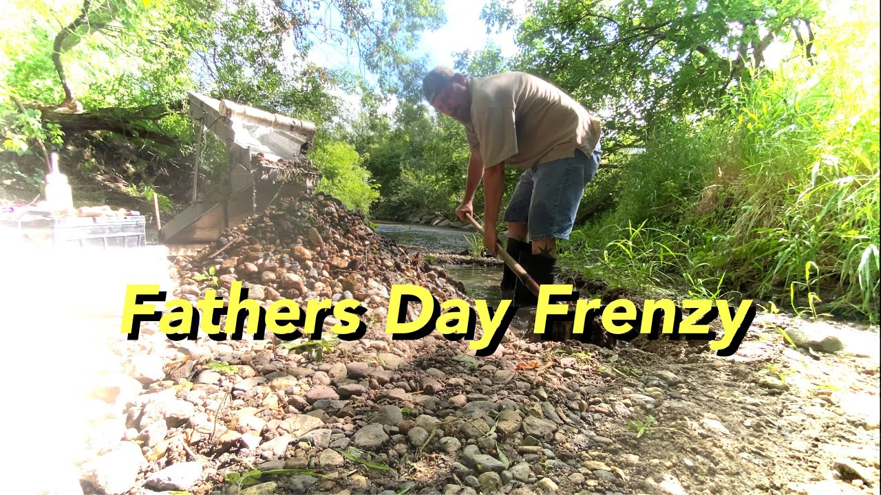 Highbanking Shady creek gravels for great gold/Father's Day frenzy