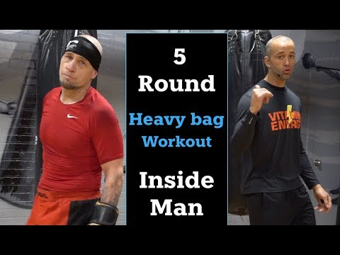 5 Round Coached Heavy Bag Workout. Savage Inside Man