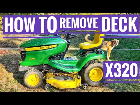 John Deere X320 how to remove mower deck to Sharpen blades on