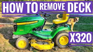 John Deere X320 how to remove mower deck to Sharpen blades