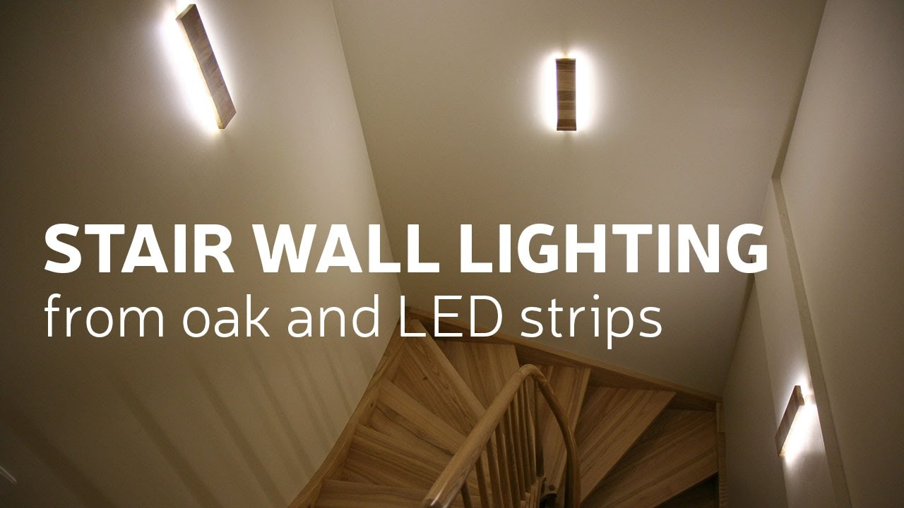 Diy stair wall lighting from oak and led strips youtube diy stair wall lighting from oak and led strips aloadofball Images