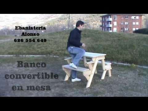 Mesa convertible en madera doovi - Banco convertible en mesa ...