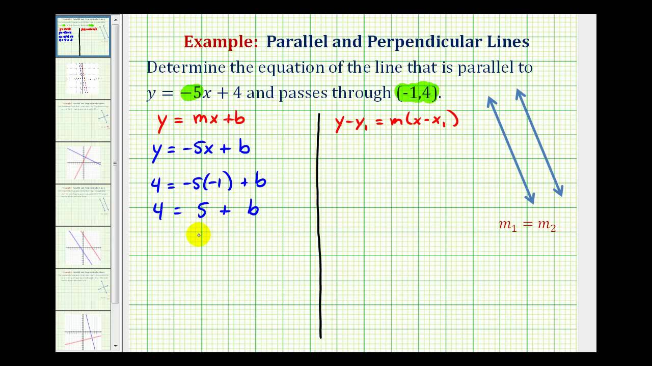 ex 1 find the equation of a line parallel to a given line passing through a given point youtube [ 1280 x 720 Pixel ]