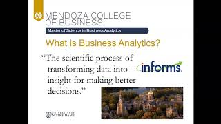 Notre Dame Master's in Business Analytics Overview