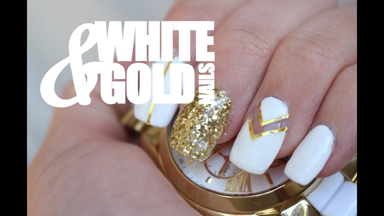 White gold nail art tutorial youtube prinsesfo Choice Image