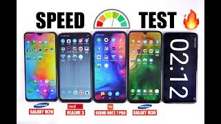 Redmi Note 7 Pro vs Galaxy M30 vs Realme 3 vs Galaxy M20 Speedtest & RAM Management 🏁🔥