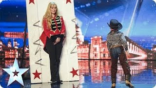 11 year old knife thrower tempts Simon Cowell onto the stage | Britain's Got Talent 2014