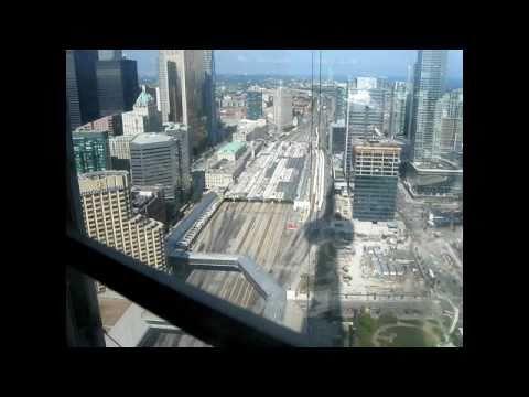 Otis High Speed Glass Elevators At Cn Tower Toronto Ontario Canada