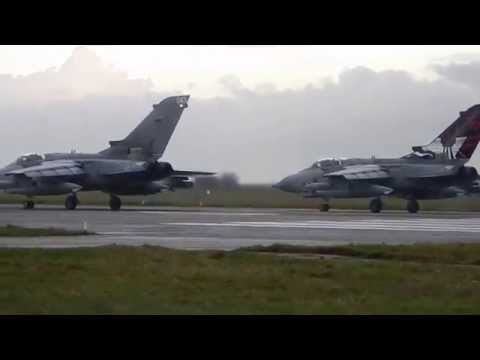RAF Lossiemouth 3 Ship Tornado GR4 Takeoff Insane!!