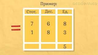 Изваждане на трицифрени числа с преминаване - Математика 3 клас | academico