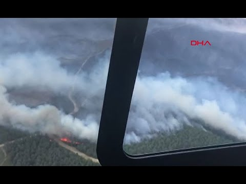 Çanakkale'de orman yangını havadan böyle görüntülendi
