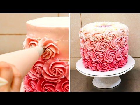 Swirl Buttercream Rosettes Cake / Torta De Rosas by CakesStepbyStep