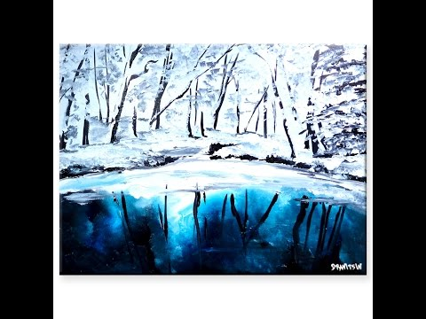 Simple painting techniques for beginners, landscape art by Peter Dranitsin called Cold Reflection