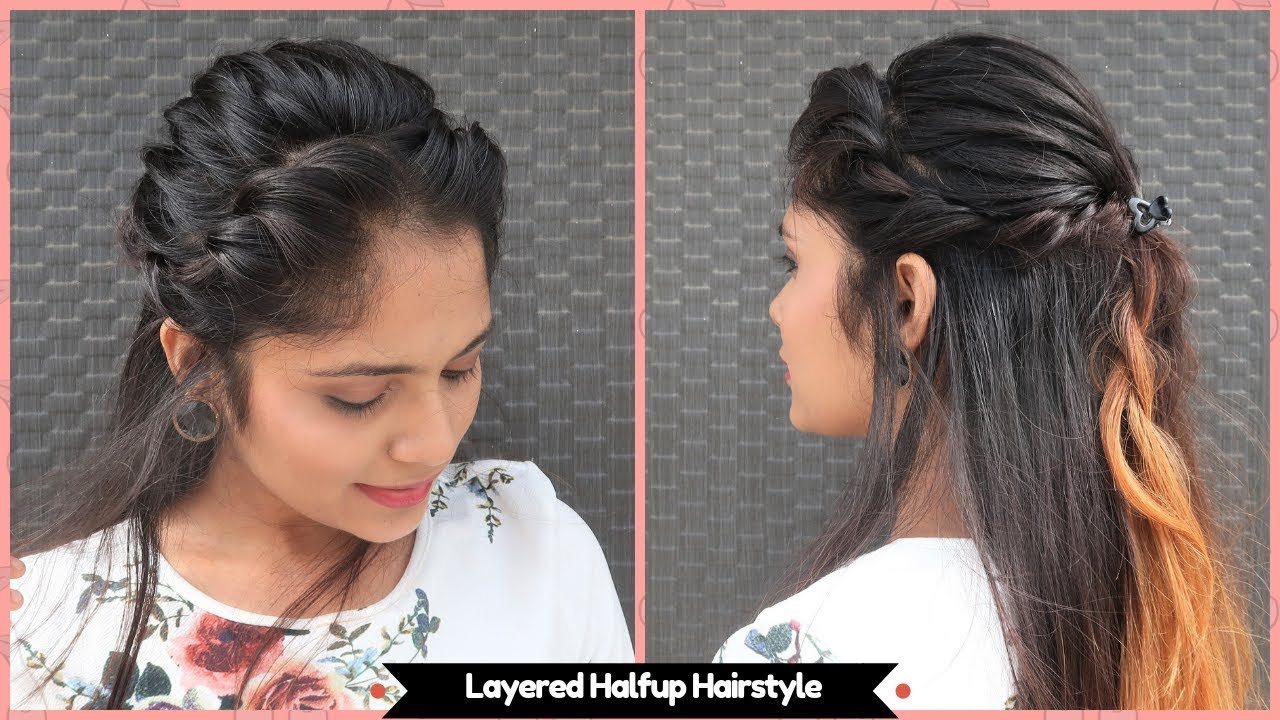 easy layered halfup hairstyle /open hair hairstyle for party