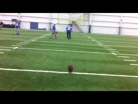 Blue Colts Mascot kicks a 40 yard field goal