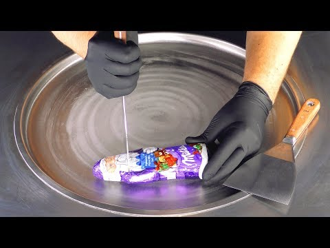 ASMR - milka Chocolate Santa Ice Cream Rolls   rolled fried Ice Cream & fast ASMR aggressive Sound