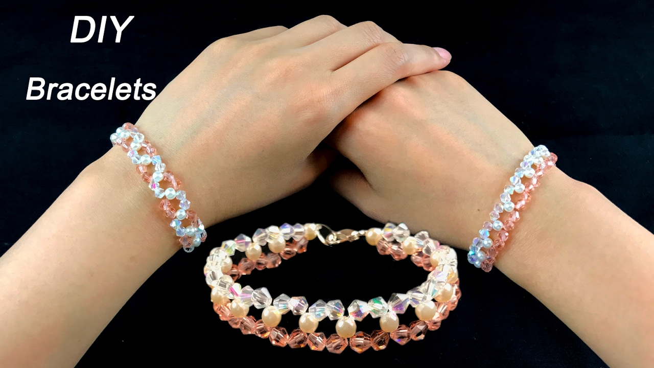 easy diy crystal and pearls bracelets/ how to make beading