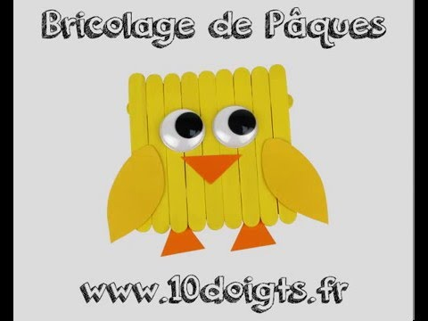 fabriquer un poussin avec des b tonnets en bois diy tutoriel vid o 10 doigts youtube. Black Bedroom Furniture Sets. Home Design Ideas