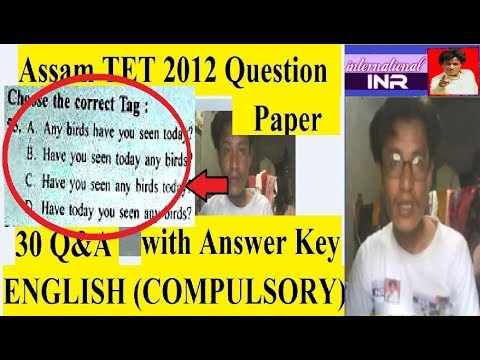 assam tet 2012 English question paper with answer