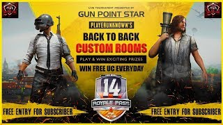 [Gun Point Star] Live Pubg Mobile Free UC Custom Room|| Daily Free Entry Live Custom.01Aug,2020