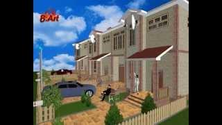 Проект загородного дома - Таунхаус на 3 семьи - LS049