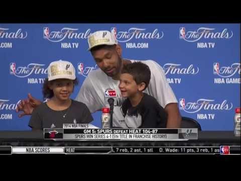 Tim Duncan's Kids Answer Question At Presser