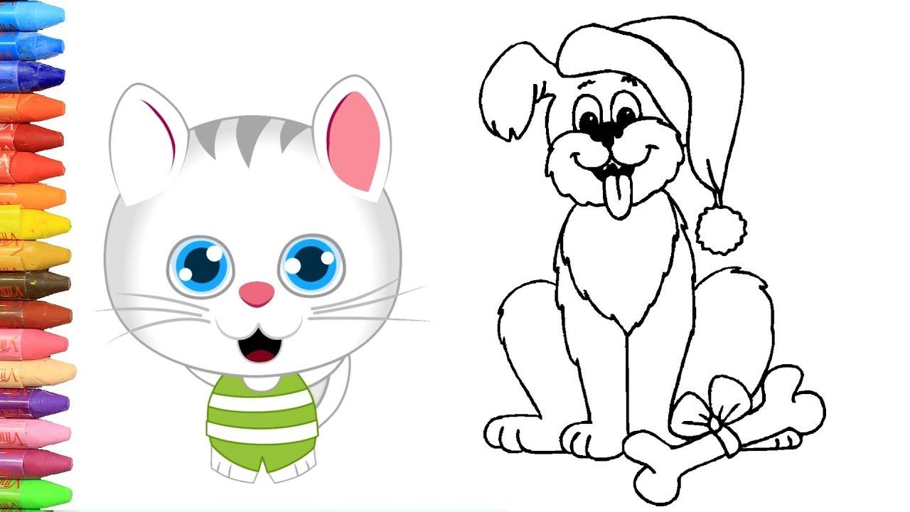 Cara Menggambar Anjing Natal Dengan Kucing Lucu Cara Menggambar