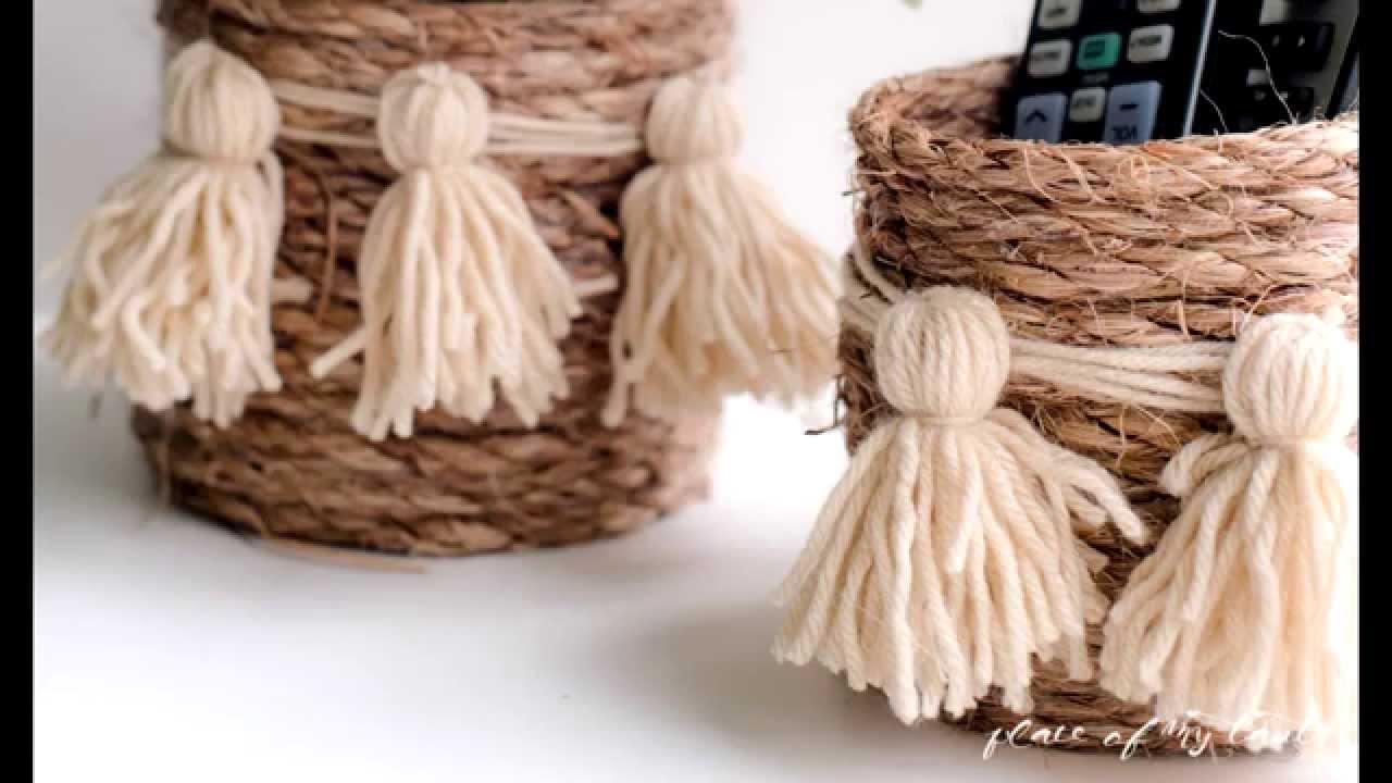 diy rope basket youtube. Black Bedroom Furniture Sets. Home Design Ideas