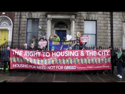 Protest at Hungary's criminalisation of Homeless at their Dublin Embassy 14th Feb 2014