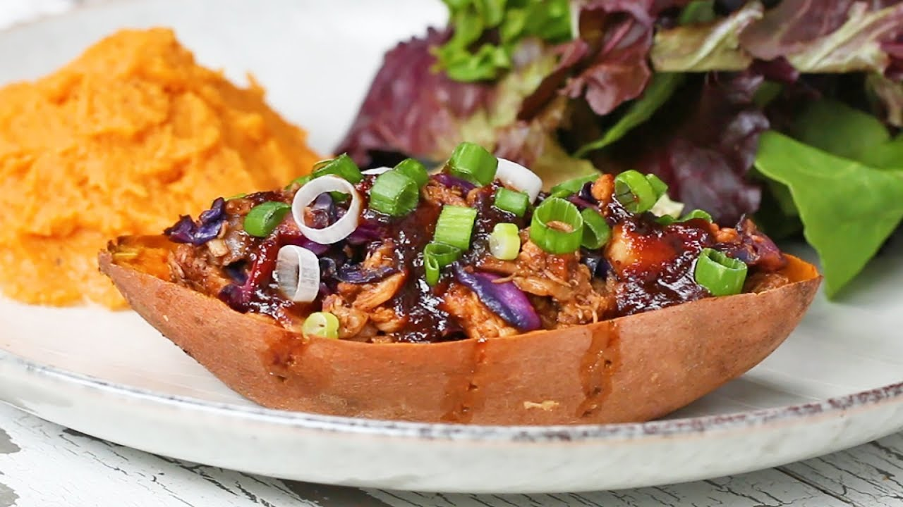 5-Ingredient BBQ Chicken-Stuffed Sweet Potato
