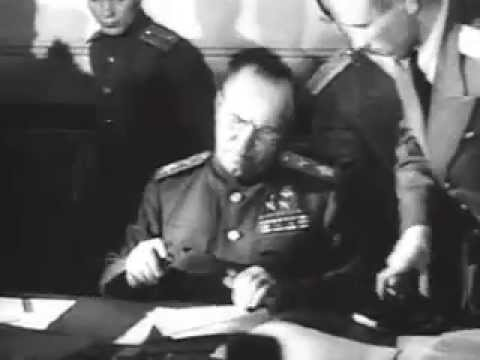Signing the definitive act of surrender for the German military in Berlin