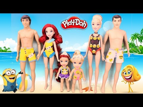 Play Doh Minions  Despicable Me vs Emoji 🏖 Beachwear 👙 Princess Cinderella Ariel Baby Dolls 🎎