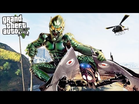 "SPIDERMAN'S ""GREEN GOBLIN"" MOD w/ GOBLIN SLIDER & WEAPONS!! (GTA 5 Mods)"