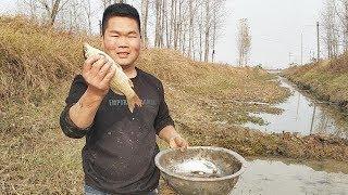 河南南阳:农村小伙在水渠里干啥呢?引来很多村里人围观,真热闹