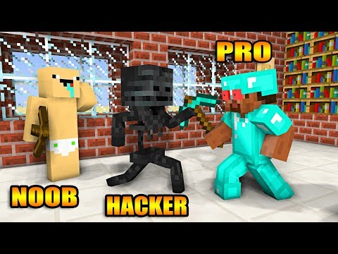 download Monster School : NOOB VS PRO VS HACKER BUILD CHALLENGE - Minecraft Animation