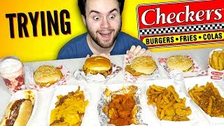 TRYING CHECKERS! THE WHOLE MENU! - Rally's Fast Food Taste Test!