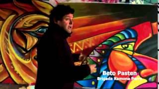 Brigada Ramona Parra de Chile pinta mural