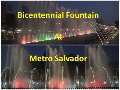 The colorful Bicentennial dancing Fountain in Santiago, Chile