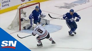 Dominik Kubalik Bats Puck Into Net After Jonathan Toews Serves Up Airborne Pass